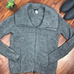J Crew Gray Zip Up Cardigan Sweater